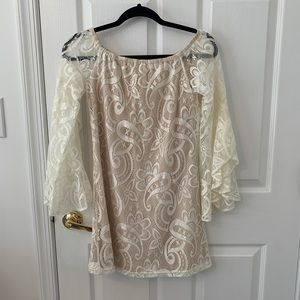 L'Atiste cream and nude boho lace mini dress